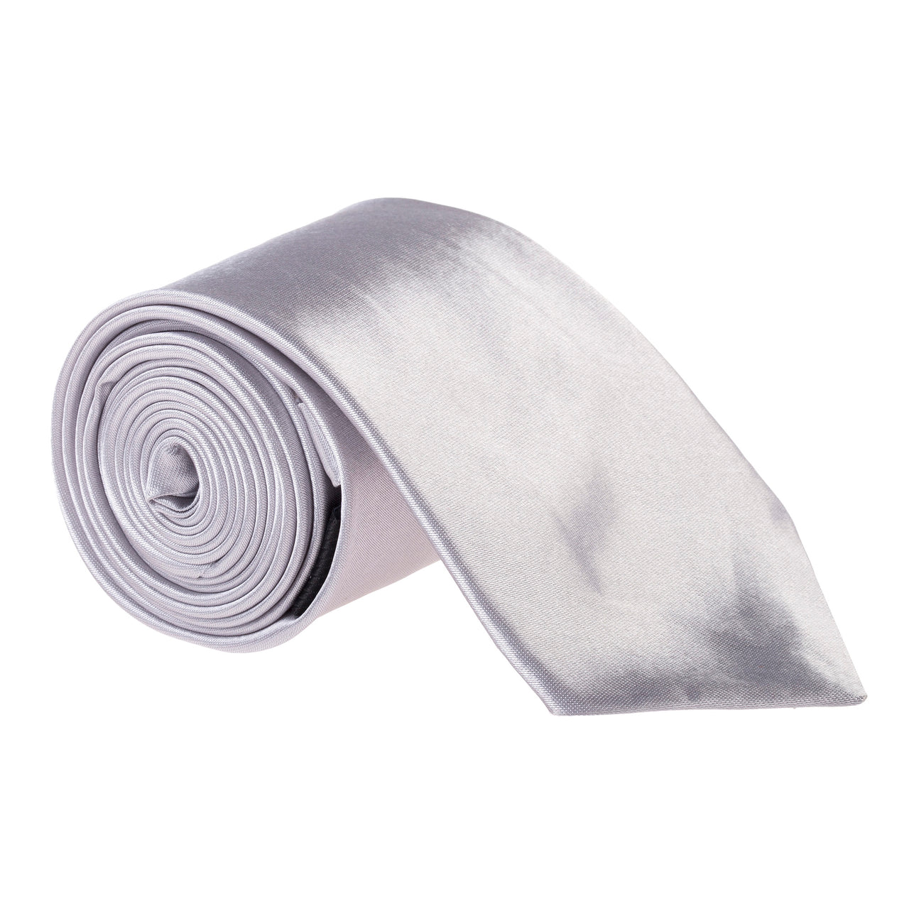 "Wide / Thick 3"" Plain Satin Tie - Light Grey"