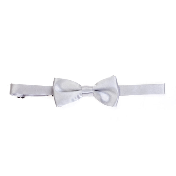 Kids Pre-tied Plain Satin Bow Tie - Light Grey