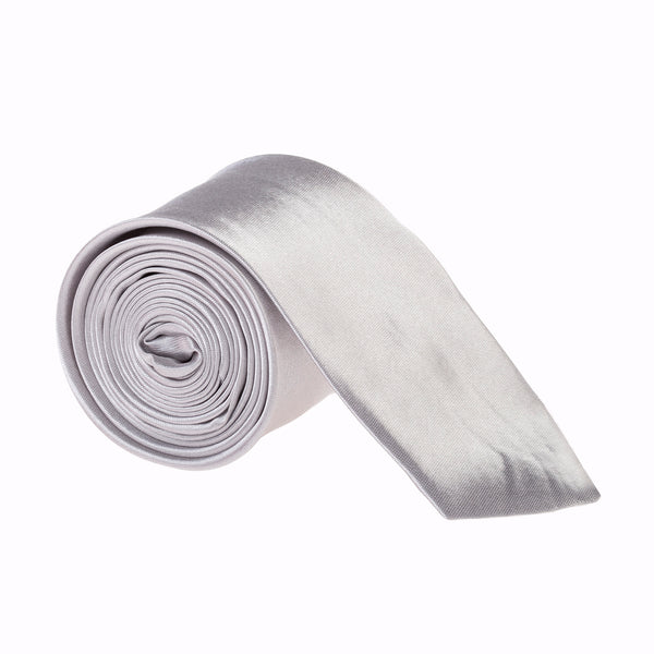 "Slim / Skinny 2"" Plain Satin Tie - Light Grey"