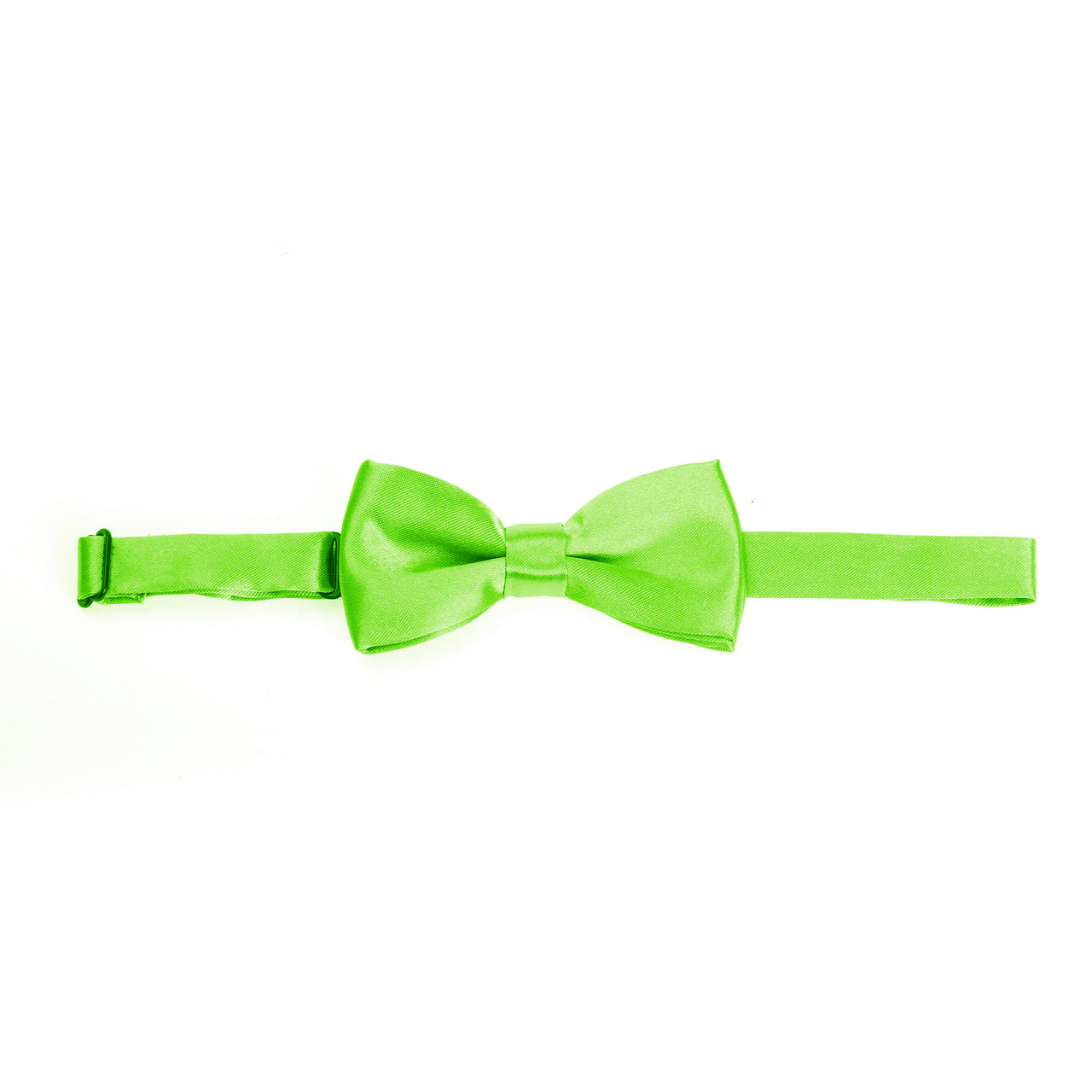 Kids Pre-tied Plain Satin Bow Tie - Lime Green