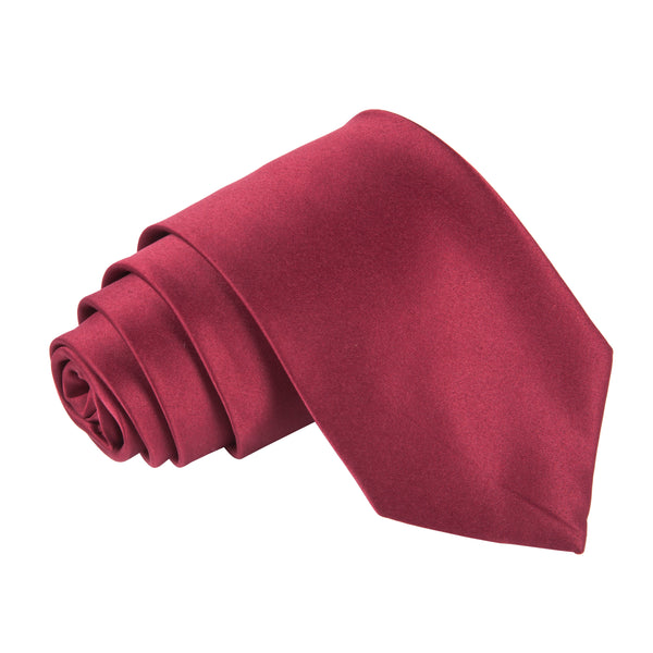 "Premium Wide / Thick 3"" Plain Satin Tie - Maroon"