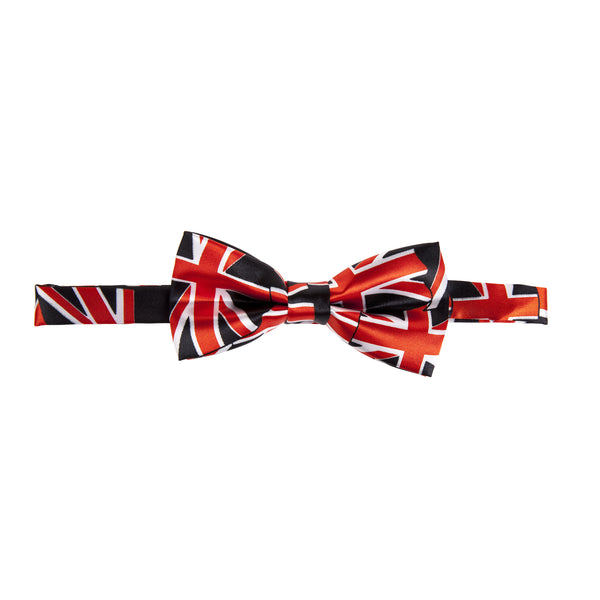 Pre-tied Printed Bow Tie - Black/Red Union Jack
