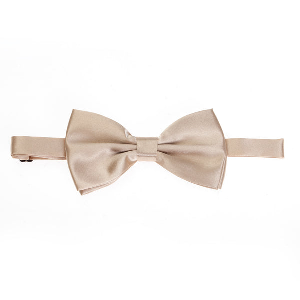 Pre-tied Plain Satin Bow Tie - Champagne