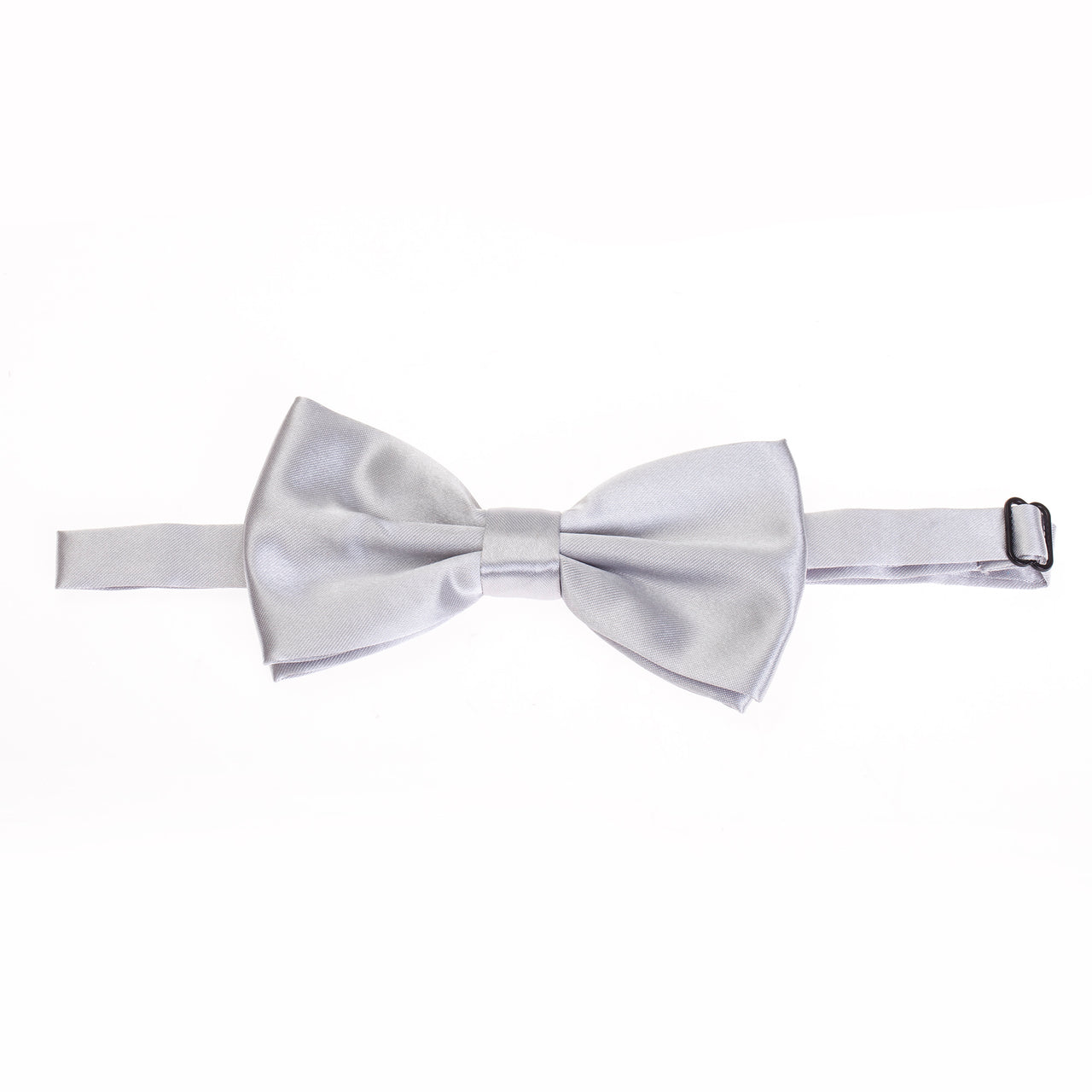 Pre-tied Plain Satin Bow Tie - Light Grey