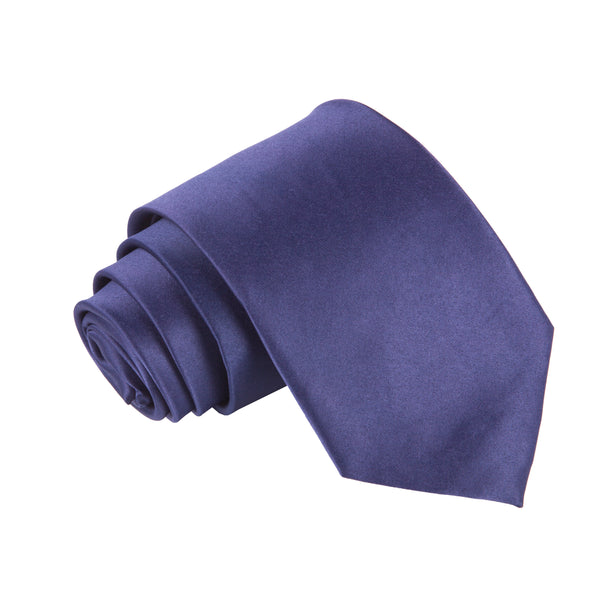 "Premium Wide / Thick 3"" Plain Satin Tie - Navy Blue"
