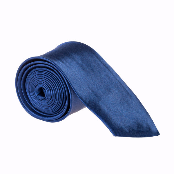 "Slim / Skinny 2"" Plain Satin Tie - Navy Blue"