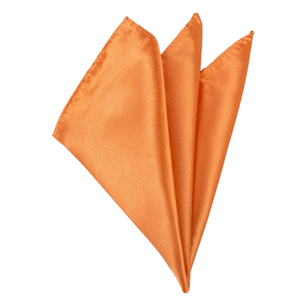 Plain Satin Pocket Square - Orange