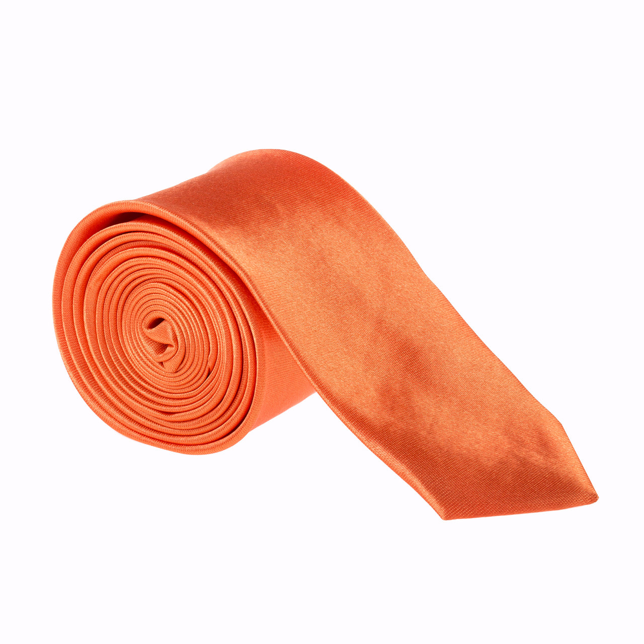 "Slim / Skinny 2"" Plain Satin Tie - Orange"