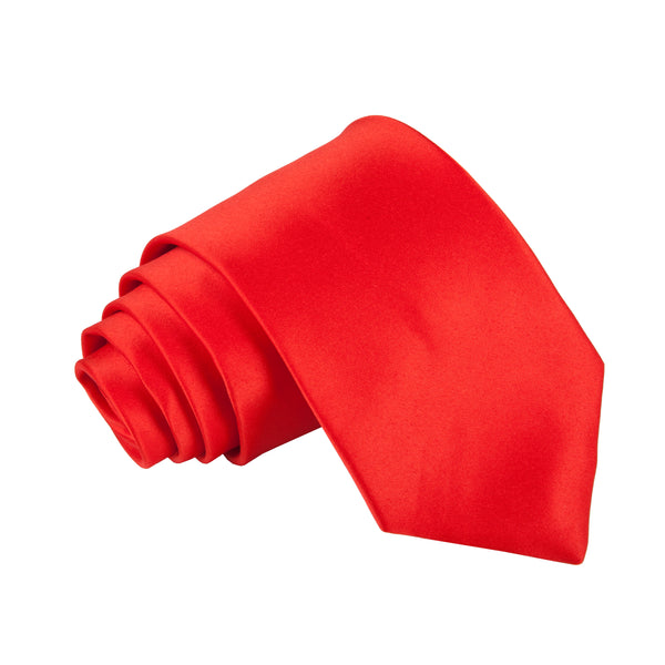 "Premium Wide / Thick 3"" Plain Satin Tie - Red"