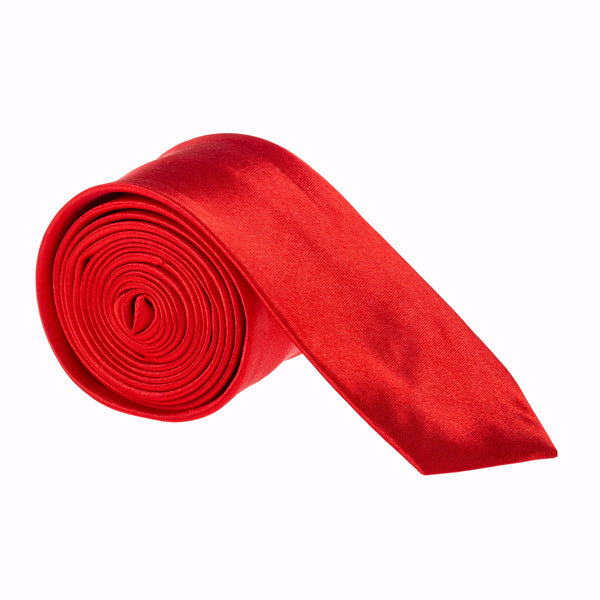 "Slim / Skinny 2"" Plain Satin Tie - Red"