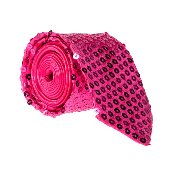 Sparkly Sequin Tie - Hot Pink