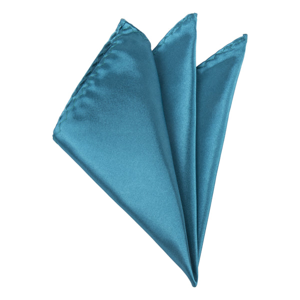 Plain Satin Pocket Square - Teal