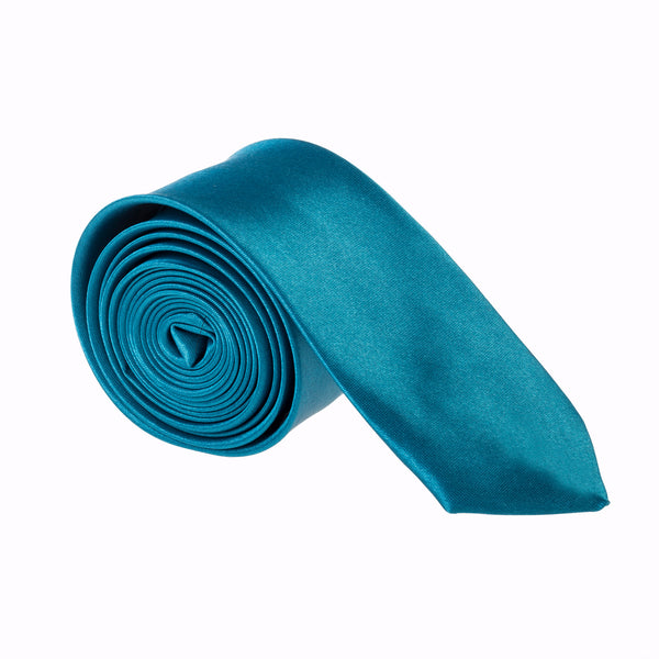 "Slim / Skinny 2"" Plain Satin Tie - Teal"