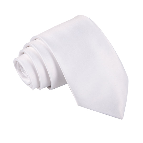 "Premium Wide / Thick 3"" Plain Satin Tie - White"