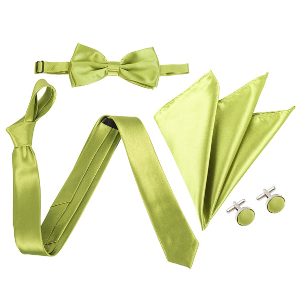 "4pc Tie Set: Slim 2"" Tie, Bow Tie, Handkerchief & Cufflinks - Apple Green"