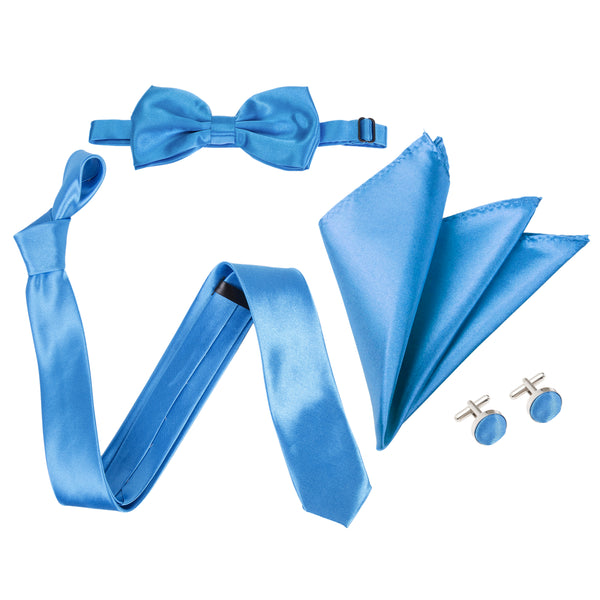 "4pc Tie Set: Slim 2"" Tie, Bow Tie, Handkerchief & Cufflinks - Aqua Blue"