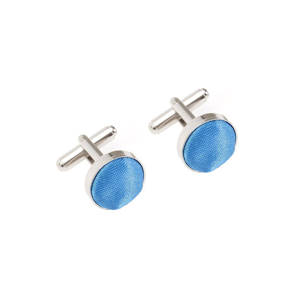 Fabric Cufflinks - Aqua Blue