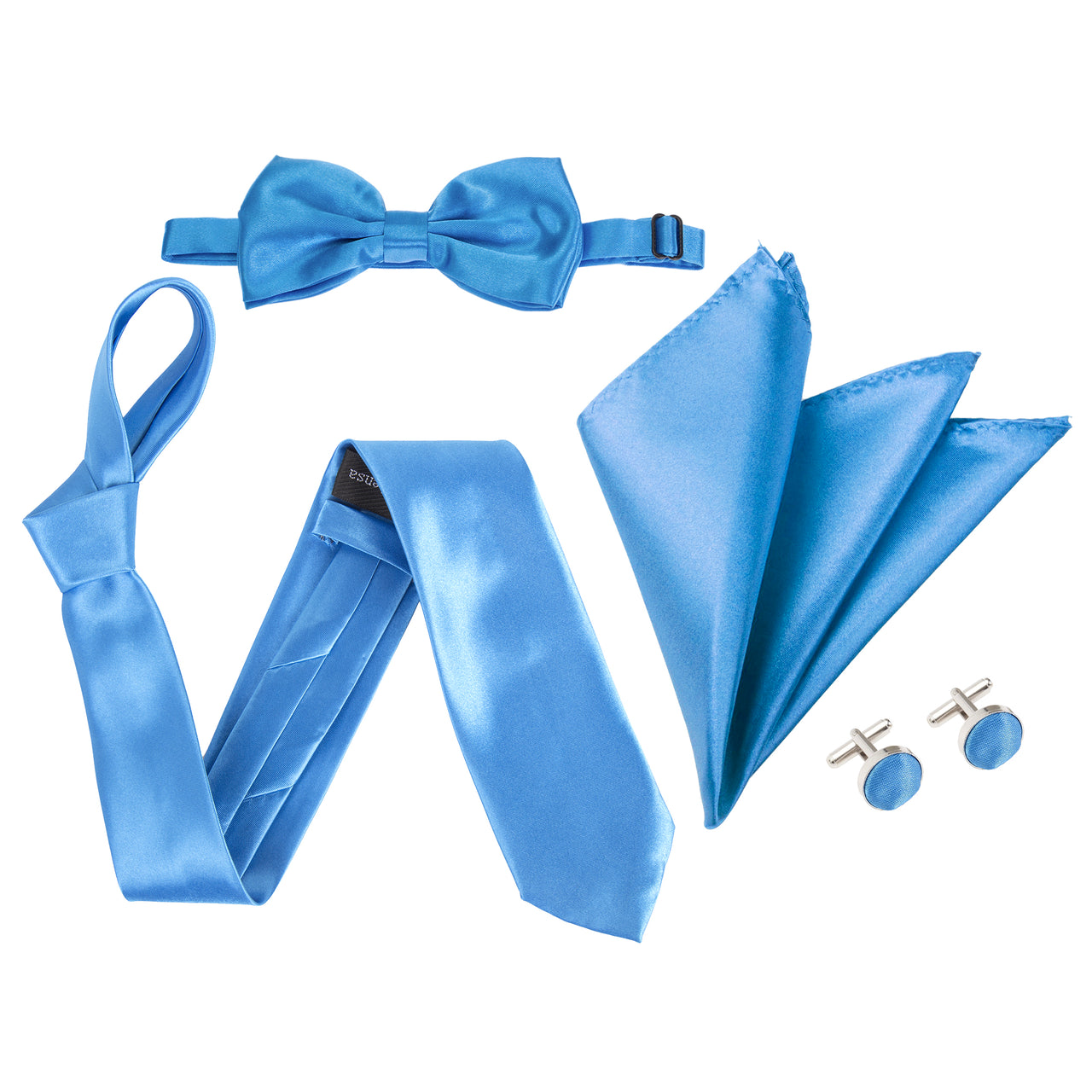 "4pc Tie Set: Wide 3"" Tie, Bow Tie, Handkerchief & Cufflinks - Aqua Blue"