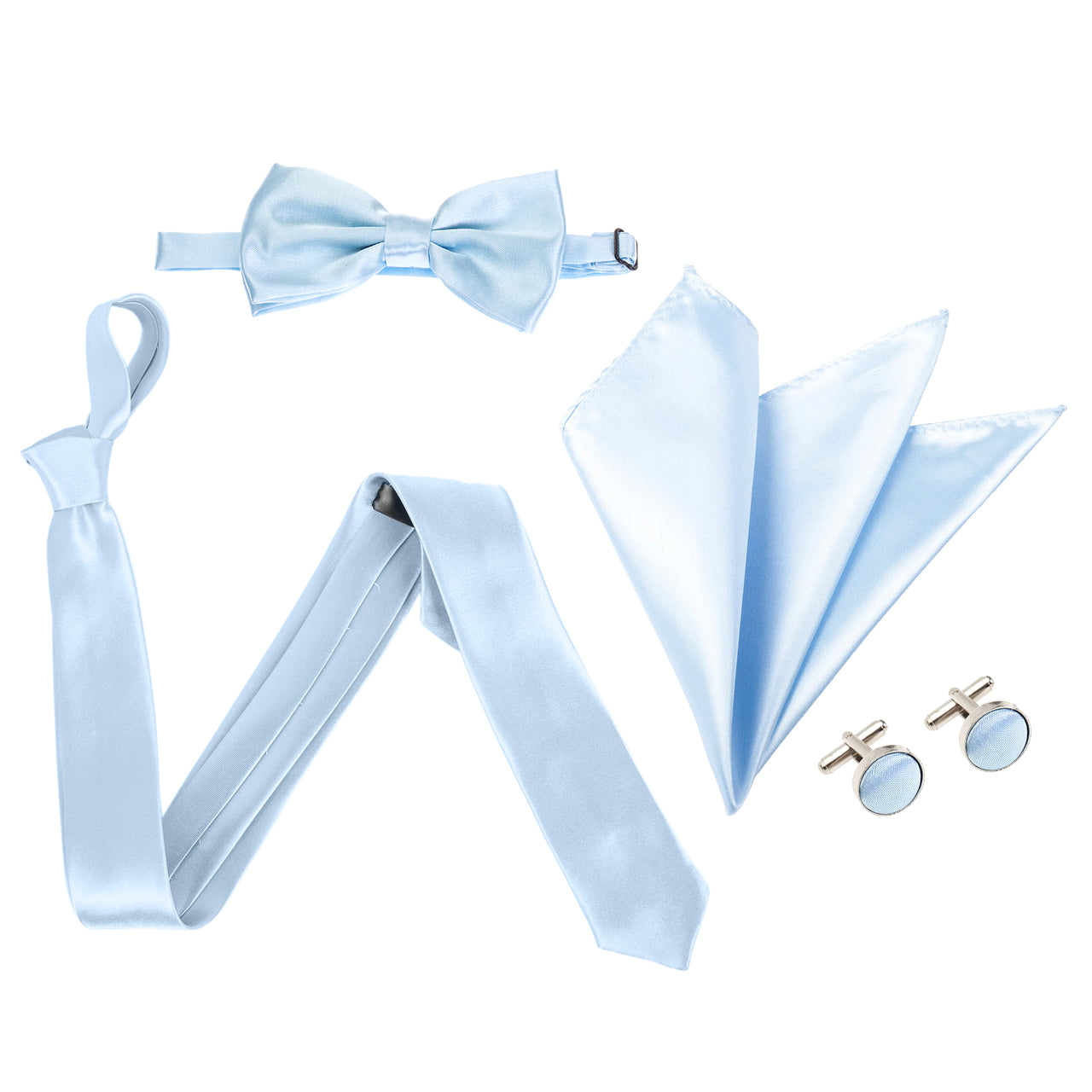 "4pc Tie Set: Slim 2"" Tie, Bow Tie, Handkerchief & Cufflinks - Baby Blue"