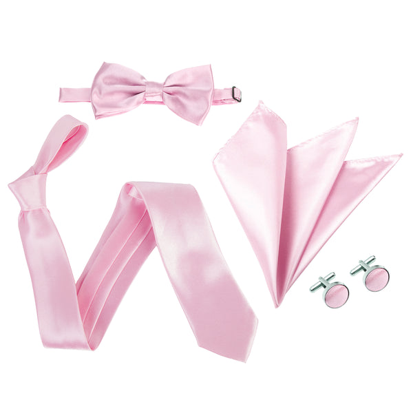 "4pc Tie Set: Wide 3"" Tie, Bow Tie, Handkerchief & Cufflinks - Baby Pink"