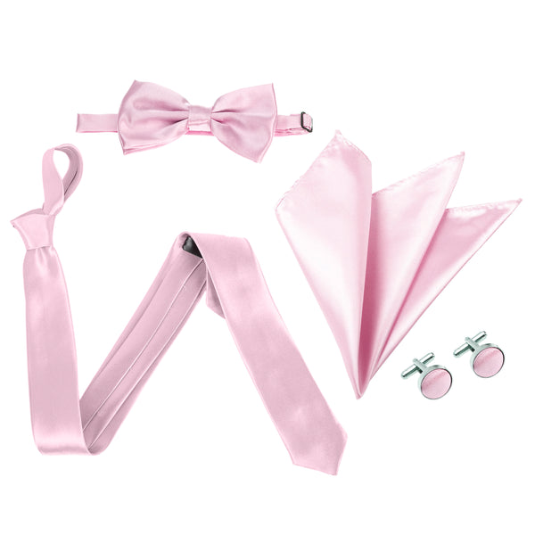 "4pc Tie Set: Slim 2"" Tie, Bow Tie, Handkerchief & Cufflinks - Baby Pink"