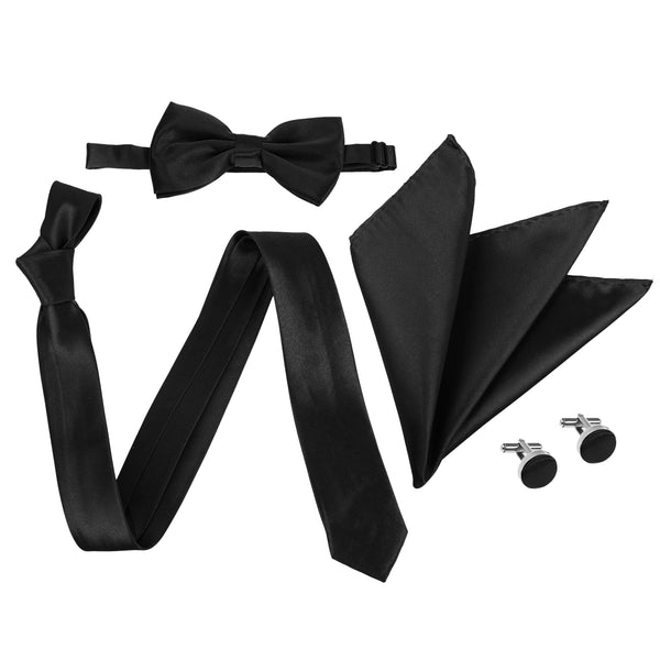 "4pc Tie Set: Slim 2"" Tie, Bow Tie, Handkerchief & Cufflinks - Black"