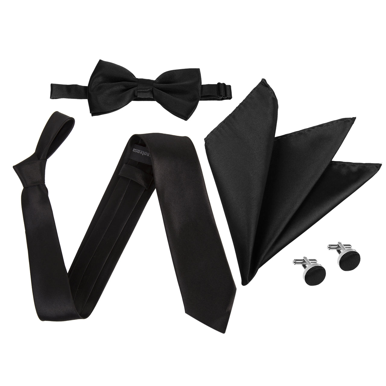 "4pc Tie Set: Wide 3"" Tie, Bow Tie, Handkerchief & Cufflinks - Black"