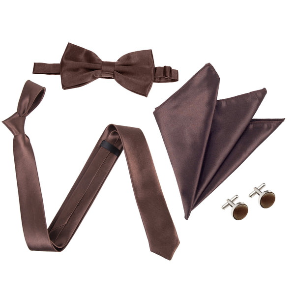 "4pc Tie Set: Slim 2"" Tie, Bow Tie, Handkerchief & Cufflinks - Brown"