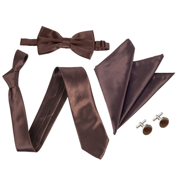 "4pc Tie Set: Wide 3"" Tie, Bow Tie, Handkerchief & Cufflinks - Brown"