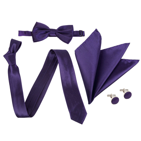 "4pc Tie Set: Slim 2"" Tie, Bow Tie, Handkerchief & Cufflinks - Cadbury's Purple"