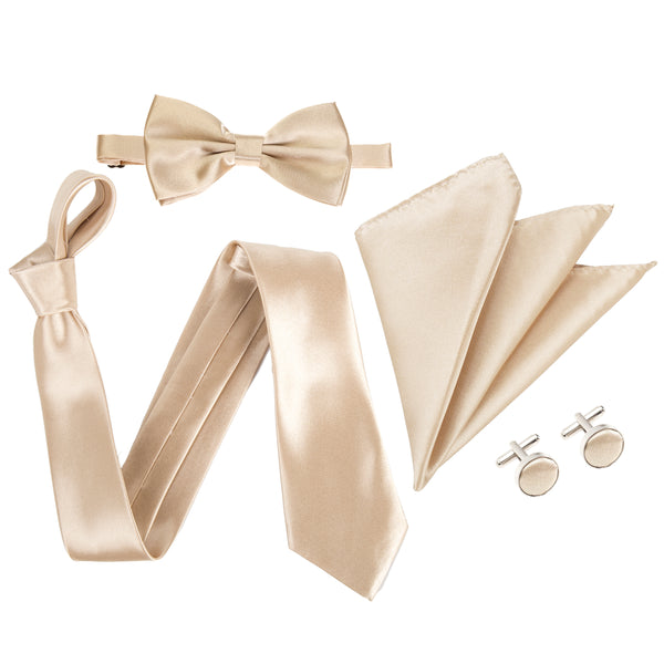 "4pc Tie Set: Wide 3"" Tie, Bow Tie, Handkerchief & Cufflinks - Champagne"