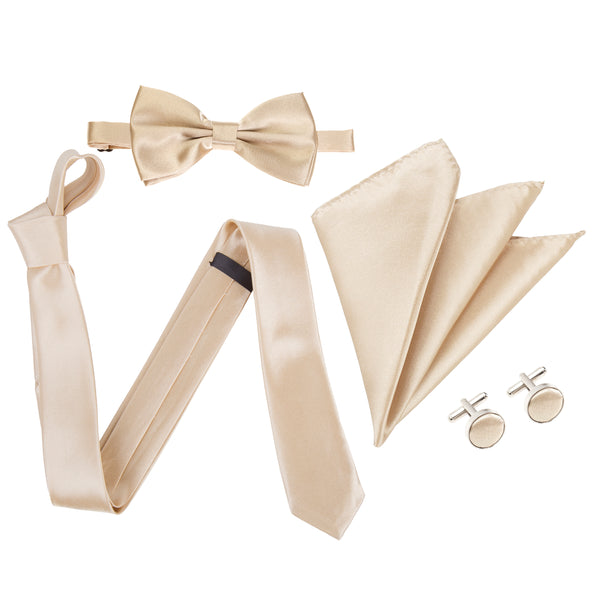 "4pc Tie Set: Slim 2"" Tie, Bow Tie, Handkerchief & Cufflinks - Champagne"