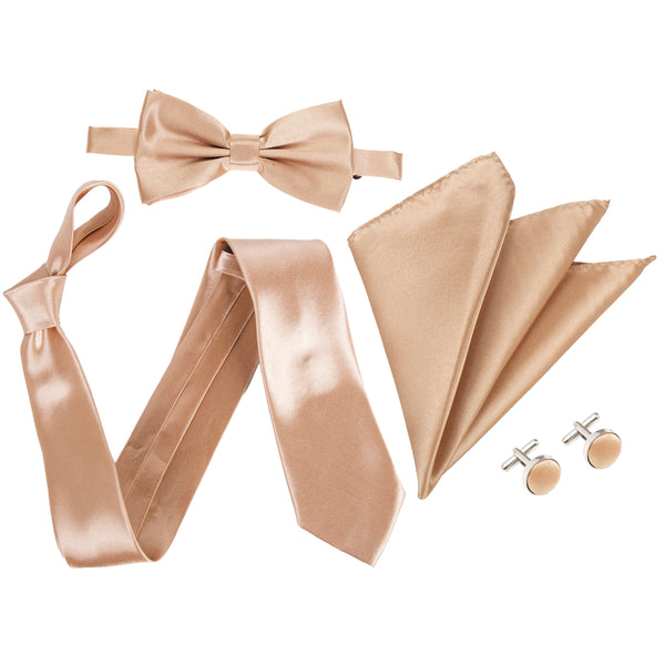 "4pc Tie Set: Wide 3"" Tie, Bow Tie, Handkerchief & Cufflinks - Copper"