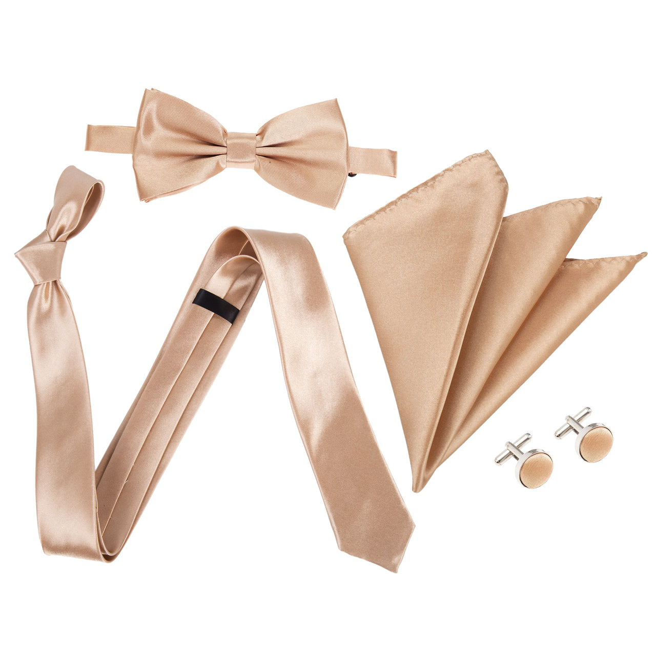 "4pc Tie Set: Slim 2"" Tie, Bow Tie, Handkerchief & Cufflinks - Copper"