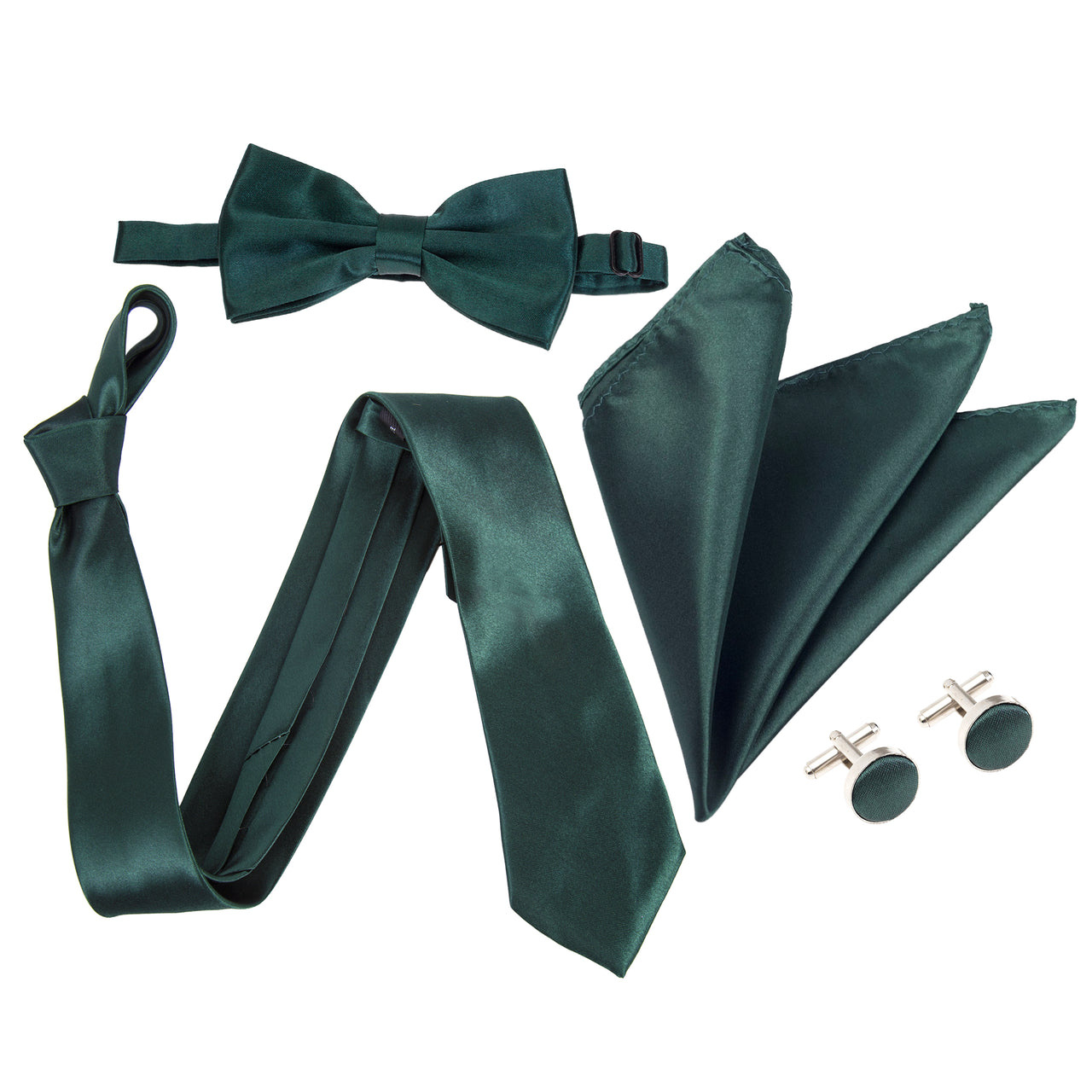 "4pc Tie Set: Wide 3"" Tie, Bow Tie, Handkerchief & Cufflinks - Dark Green"