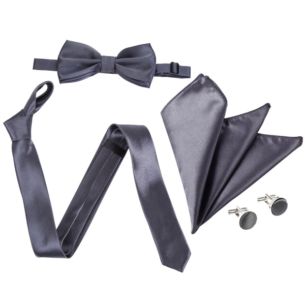 "4pc Tie Set: Slim 2"" Tie, Bow Tie, Handkerchief & Cufflinks - Dark Grey"