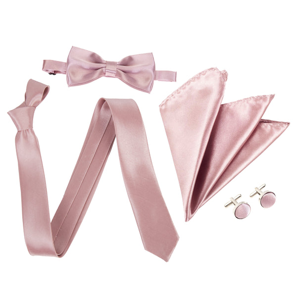 "4pc Tie Set: Slim 2"" Tie, Bow Tie, Handkerchief & Cufflinks - Dusty Pink"