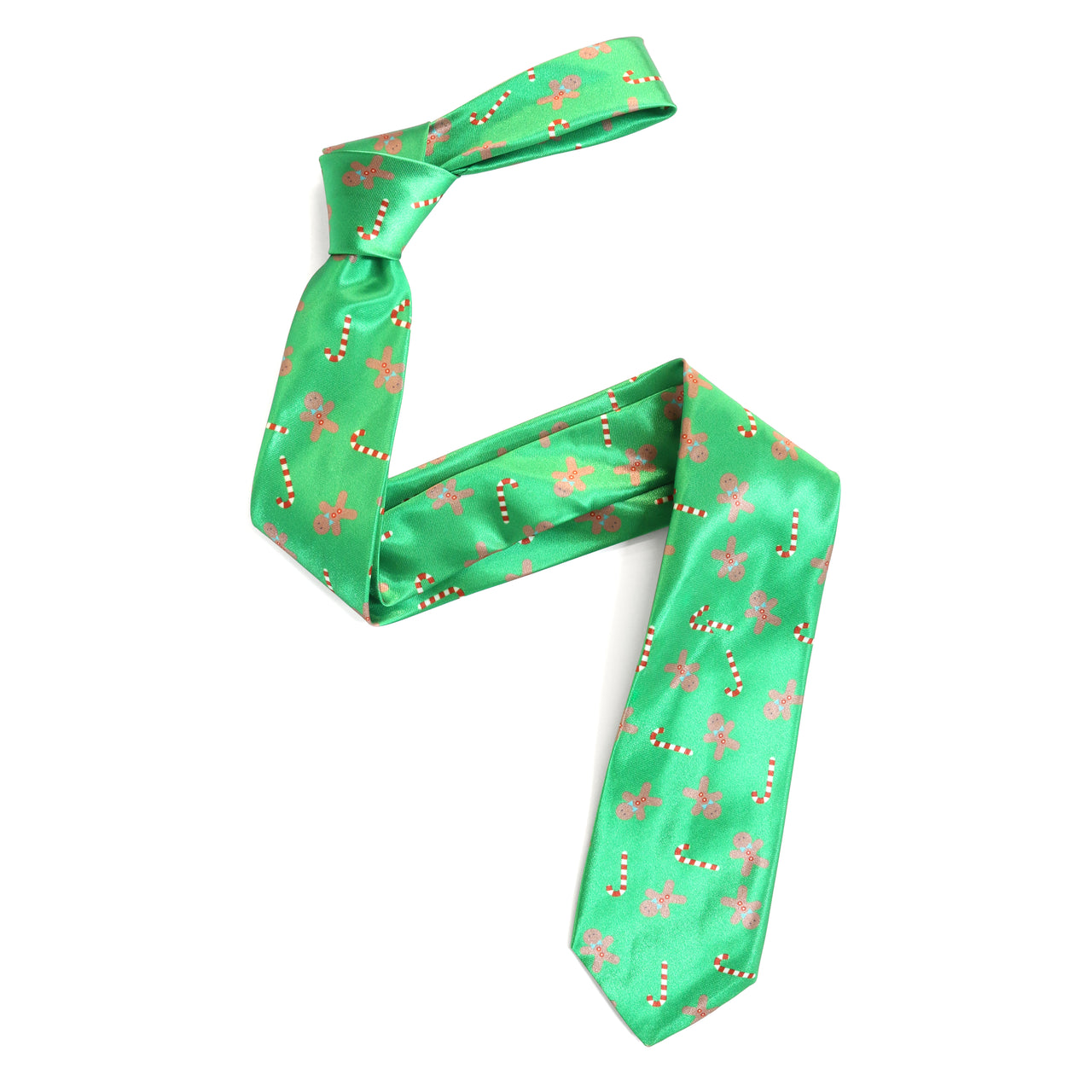 Christmas Tie - Gingerbread Candy Cane - Green