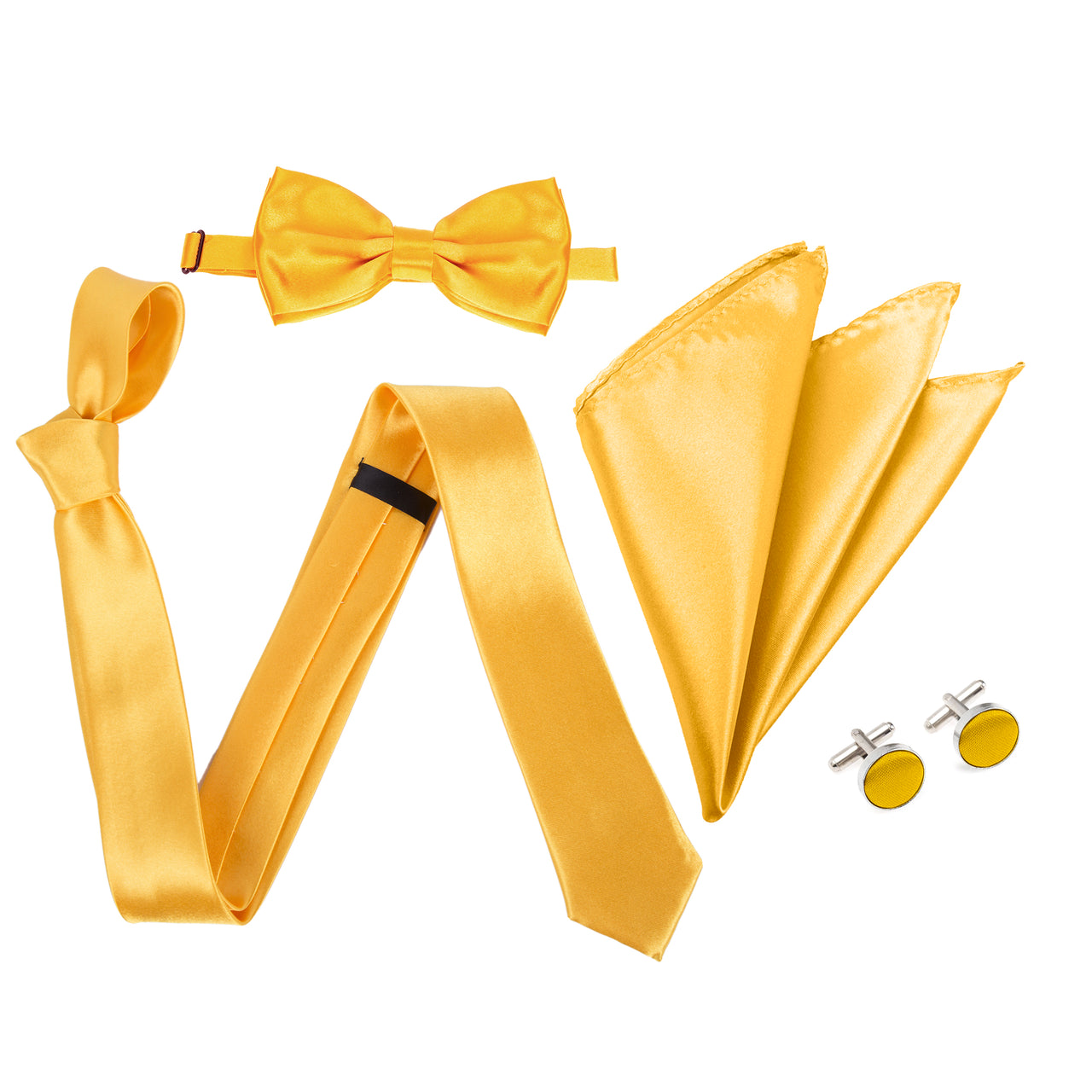 "4pc Tie Set: Slim 2"" Tie, Bow Tie, Handkerchief & Cufflinks - Golden Yellow"
