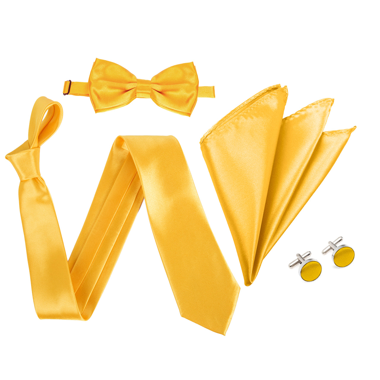 "4pc Tie Set: Wide 3"" Tie, Bow Tie, Handkerchief & Cufflinks - Golden Yellow"