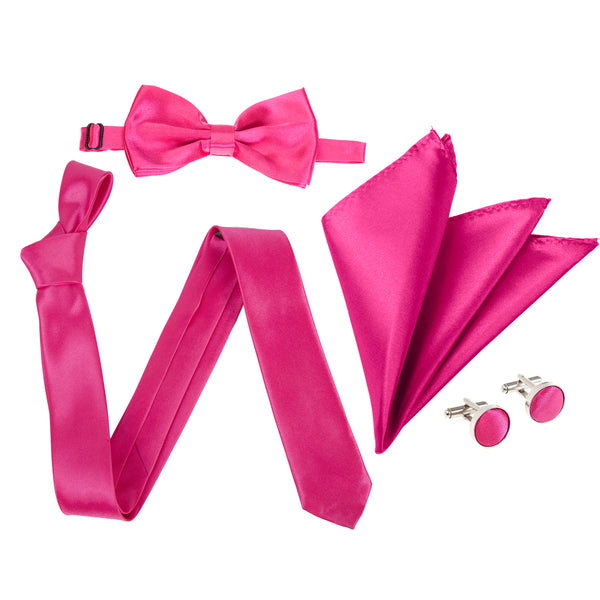 "4pc Tie Set: Slim 2"" Tie, Bow Tie, Handkerchief & Cufflinks - Hot Pink"