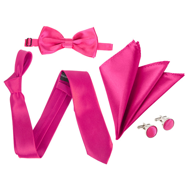 "4pc Tie Set: Wide 3"" Tie, Bow Tie, Handkerchief & Cufflinks - Hot Pink"