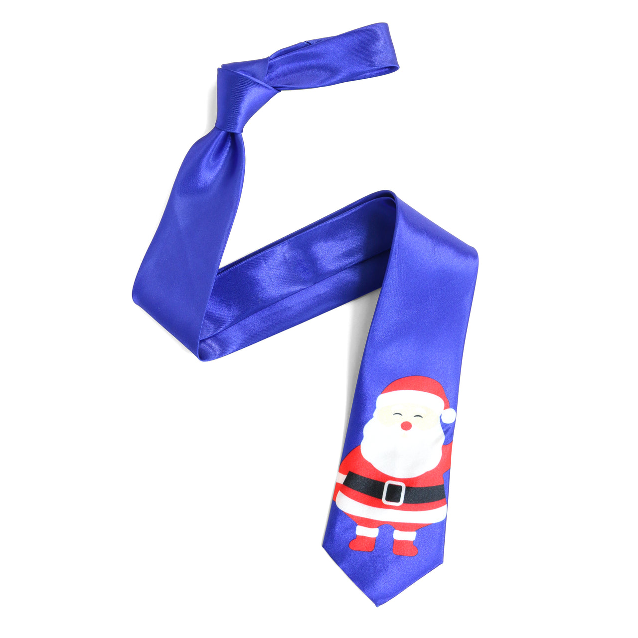 Christmas Tie - Large Cartoon Santa - Blue