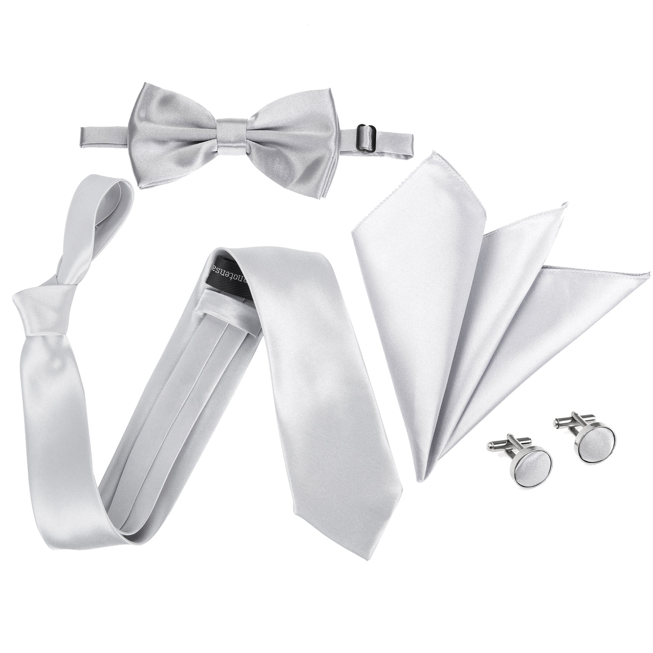 "4pc Tie Set: Wide 3"" Tie, Bow Tie, Handkerchief & Cufflinks - Light Grey"