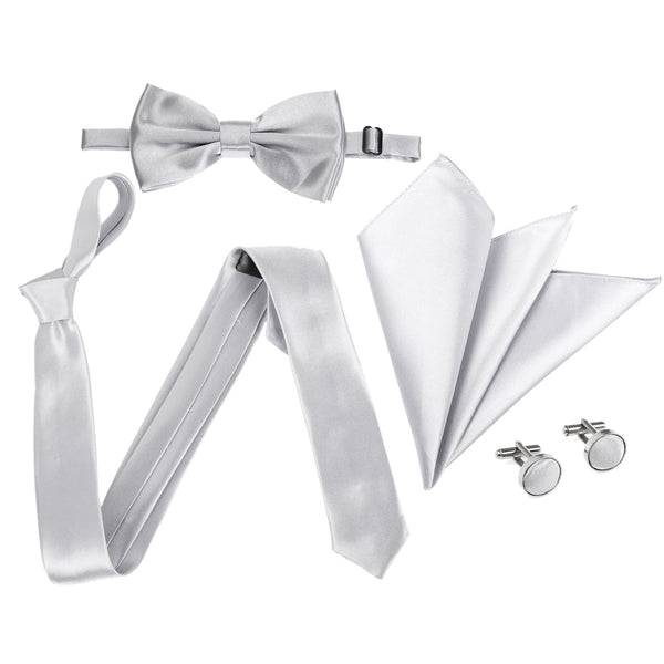 "4pc Tie Set: Slim 2"" Tie, Bow Tie, Handkerchief & Cufflinks - Light Grey"