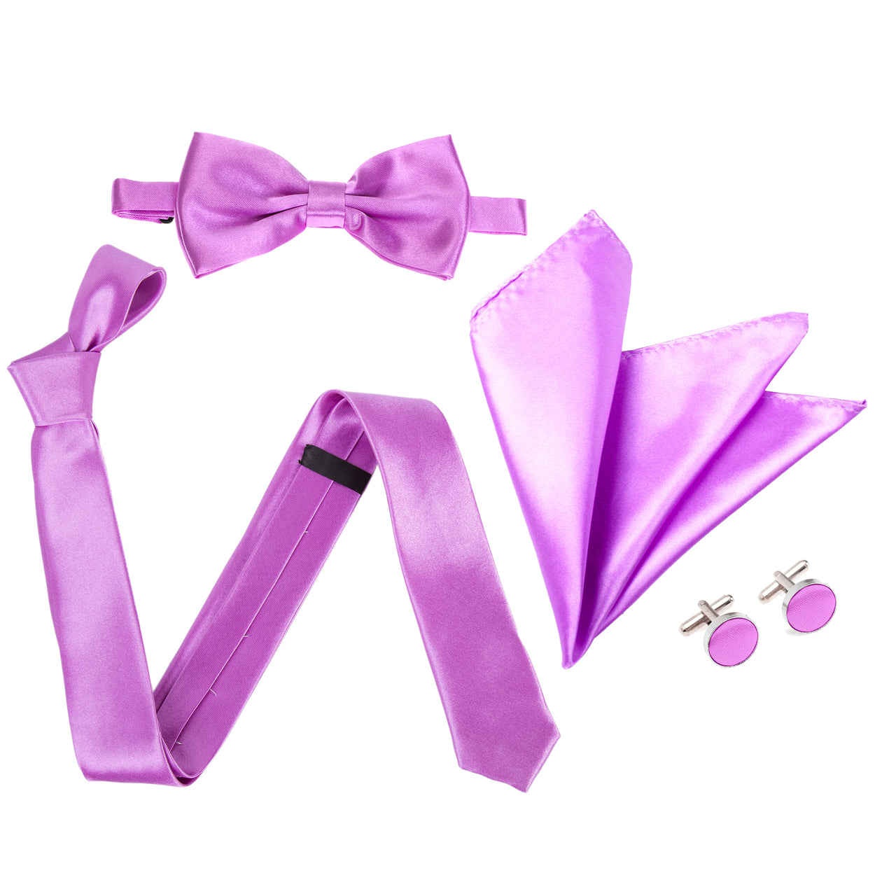 "4pc Tie Set: Slim 2"" Tie, Bow Tie, Handkerchief & Cufflinks - Light Purple"