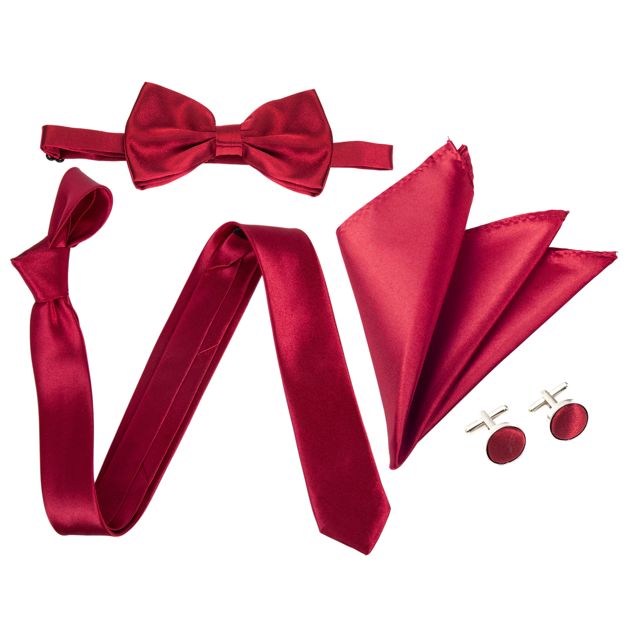 "4pc Tie Set: Slim 2"" Tie, Bow Tie, Handkerchief & Cufflinks - Maroon"