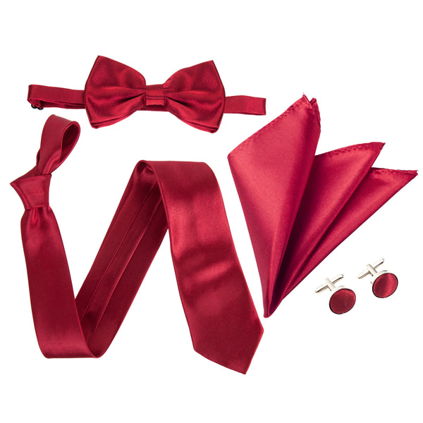 "4pc Tie Set: Wide 3"" Tie, Bow Tie, Handkerchief & Cufflinks - Maroon"