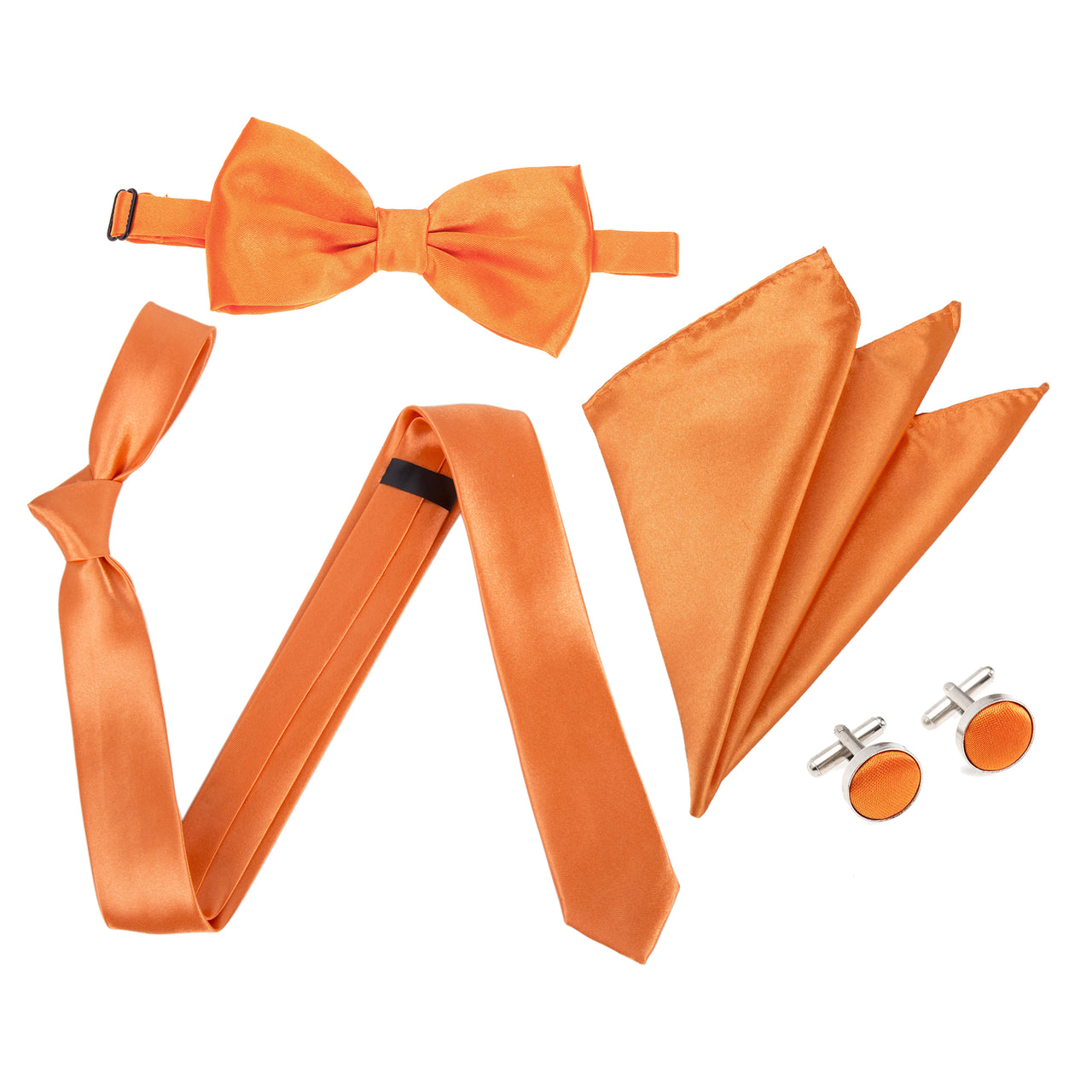 "4pc Tie Set: Slim 2"" Tie, Bow Tie, Handkerchief & Cufflinks - Orange"