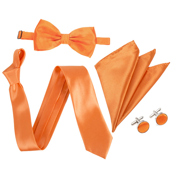"4pc Tie Set: Wide 3"" Tie, Bow Tie, Handkerchief & Cufflinks - Orange"